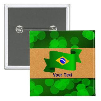 ブラジルの旗のテンプレート 5.1CM 正方形バッジ