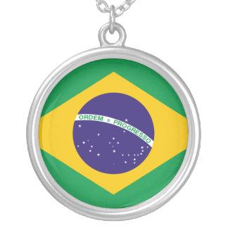 ブラジルの旗のネックレス シルバープレートネックレス