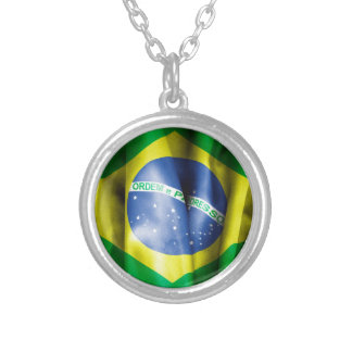 ブラジルの旗の円形の吊り下げ式のネックレス シルバープレートネックレス