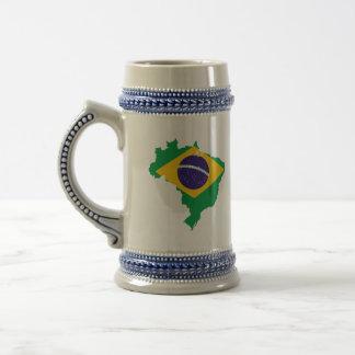 ブラジルの旗の地図 ビールジョッキ