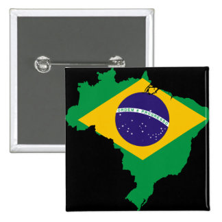 ブラジルの旗の地図 5.1CM 正方形バッジ