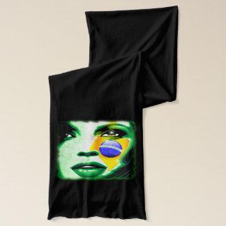 ブラジルの旗の女の子のポートレートのスカーフ スカーフ