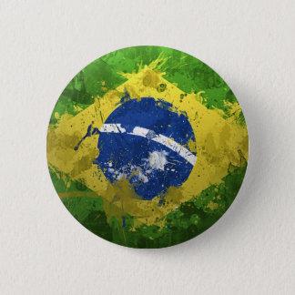 ブラジルの旗の汚いデザイン 5.7CM 丸型バッジ