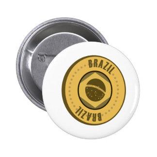 ブラジルの旗の金貨 5.7CM 丸型バッジ