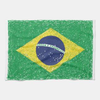 ブラジルの旗の*Hand-sketch*のブラジル人 キッチンタオル
