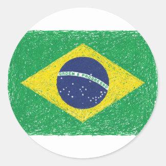 ブラジルの旗の*Hand-sketch*のブラジル人 ラウンドシール