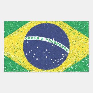 ブラジルの旗の*Hand-sketch*のブラジル人 長方形シール