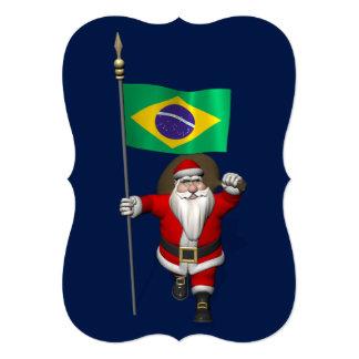 ブラジルの旗を持つサンタクロース カード