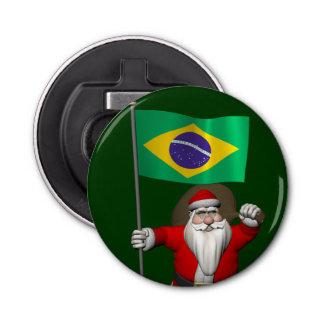 ブラジルの旗を持つサンタクロース 栓抜き