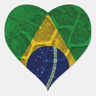 ブラジルの旗 ハートシール