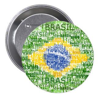 ブラジルの旗-原文のブラジル 7.6CM 丸型バッジ