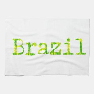 ブラジルの緑および黄色のフォント キッチンタオル