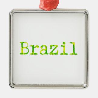 ブラジルの緑および黄色のフォント メタルオーナメント