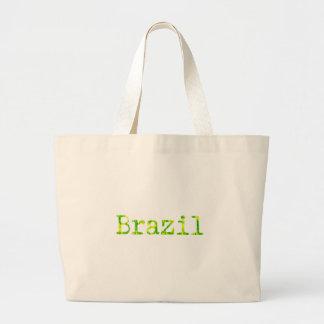 ブラジルの緑および黄色のフォント ラージトートバッグ