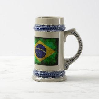 ブラジルの風化させた旗 ビールジョッキ