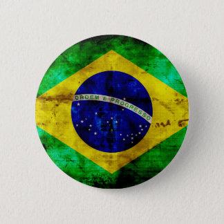 ブラジルの風化させた旗 5.7CM 丸型バッジ