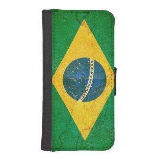 ブラジルのiPhoneの財布のスタイルの場合のグランジな旗 iPhoneSE/5/5sウォレットケース