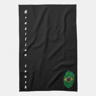 ブラジルのtouchの指紋の旗 キッチンタオル