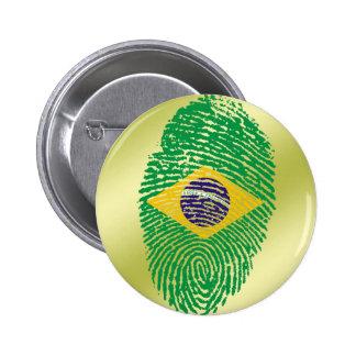 ブラジルのtouchの指紋の旗 5.7cm 丸型バッジ
