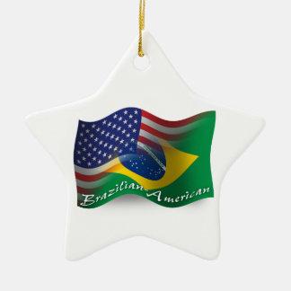 ブラジルアメリカの振る旗 セラミックオーナメント