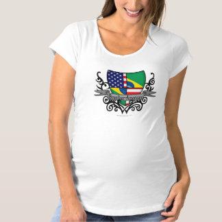 ブラジルアメリカの盾の旗 マタニティTシャツ