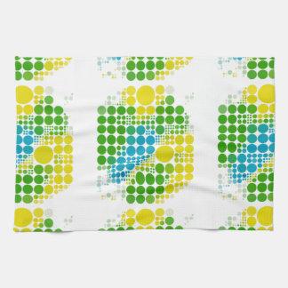 ブラジルカラー水玉のブラジル色の水玉模様 キッチンタオル