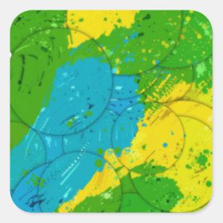 ブラジルカラー筆描き模様のブラジル色のブラシのタイプ スクエアシール