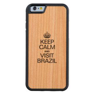 ブラジル穏やか、訪問保って下さい CarvedチェリーiPhone 6バンパーケース