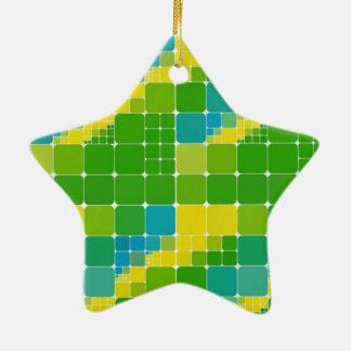 ブラジル色の正方形のブラジルカラータイル模様 陶器製星型オーナメント