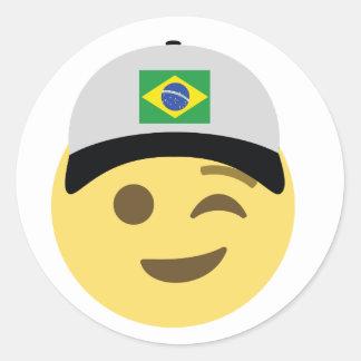 ブラジルEmojiの野球帽 ラウンドシール