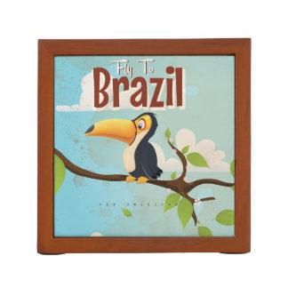 ブラジルToucan旅行ポスターへのヴィンテージのはえ ペンスタンド