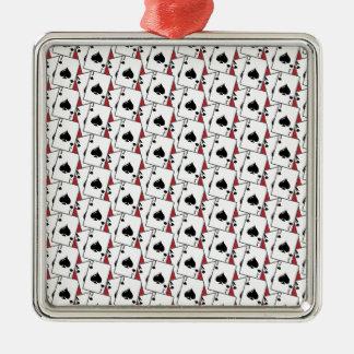 ブラックジャックのスペードの赤い大きい メタルオーナメント