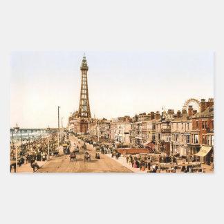 ブラックプール旧式なイギリスの海岸 長方形シール