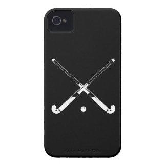 ブラックベリーのはっきりしたなフィールドホッケーの黒 Case-Mate iPhone 4 ケース