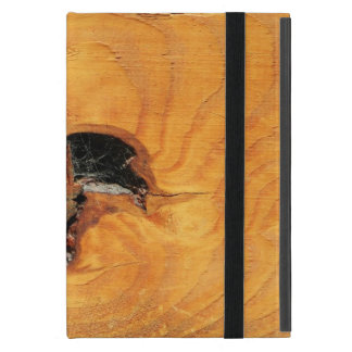 ブラックホールおよびspiderwebが付いているオレンジ自然な木 iPad mini ケース