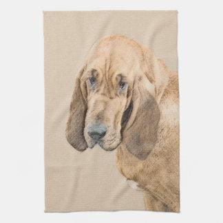 ブラッドハウンドの絵画-かわいい元の犬の芸術 キッチンタオル
