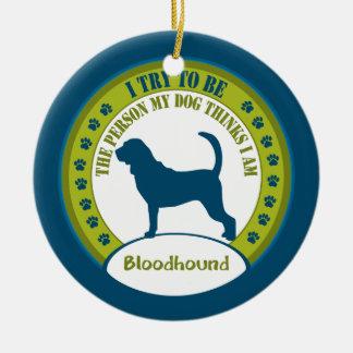 ブラッドハウンド|のクリスマスのオーナメント 陶器製丸型オーナメント