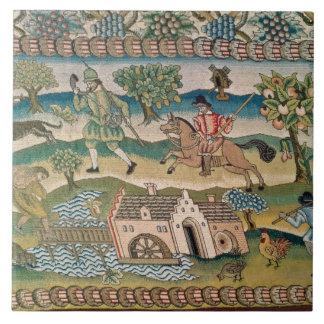 ブラッドフォードのテーブルのカーペット、田園lの場面の詳細 タイル