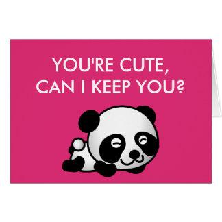 """ブランクの内部の""""あなたはかわいい""""パンダのバレンタインデー カード"""