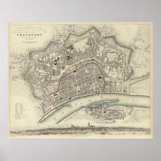 ブランクフルトドイツ(1837年)のヴィンテージの地図 ポスター