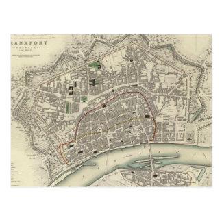 ブランクフルトドイツ(1837年)のヴィンテージの地図 ポストカード