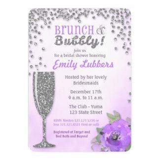 ブランチおよび快活なブライダルシャワーのグリッターの招待状 カード