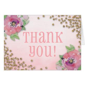 ブランチおよび快活なブライダルシャワーのグリッターは感謝していしています カード