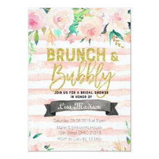 ブランチおよび快活な花のブライダルシャワーの招待状 カード