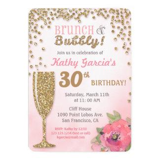 ブランチおよび快活な誕生日のグリッターの招待状 カード