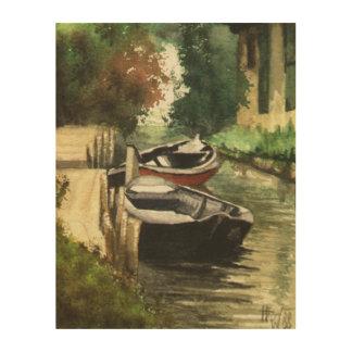 ブランデンブルクの川船 ウッドウォールアート
