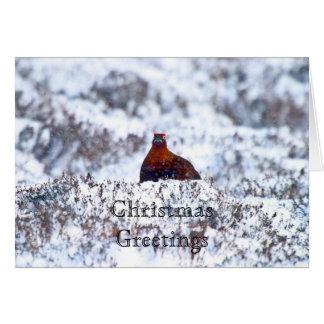 ブリザードのクリスマスの挨拶状のライチョウ グリーティングカード