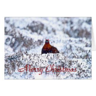 ブリザードのメリークリスマスカードのライチョウ グリーティングカード