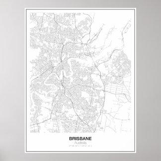 ブリスベーン、オーストラリアの最小主義の地図ポスター ポスター