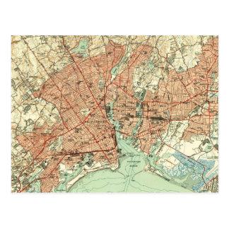 ブリッジポートコネチカット(1951年) 2のヴィンテージの地図 ポストカード
